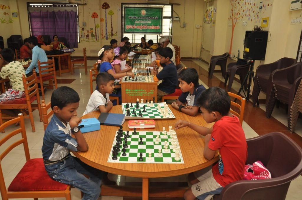 Lot Children play chess in Trichy library Children Section